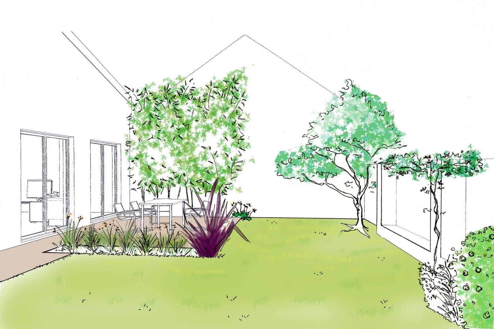 B n dicte mottais projet 9 jardinet de loft rez for Croquis jardin paysager