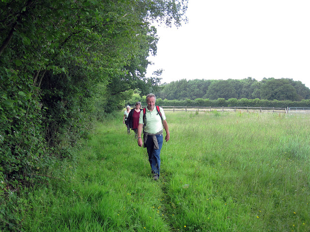 The group having just emerged from someone's garden, east of Biggin Hill.  The actual stile is just behind me.  Ups and Downs walk led by Ewa Prokop, 21 June 2011.