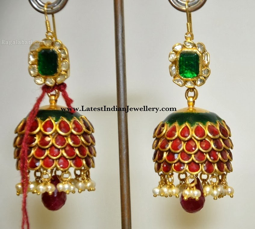 Enamel Gold Jhumki Earrings