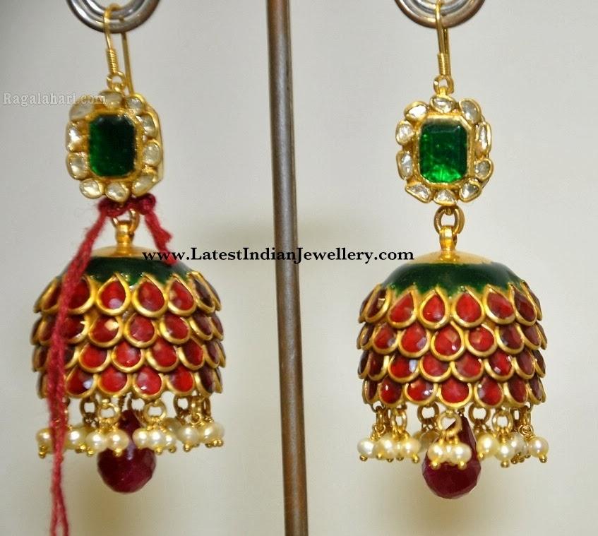 Enamel Gold Jhumki Earrings