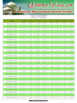 Jadwal Imsakiyah Tasikmalaya Tahun 2015 (1436 H)