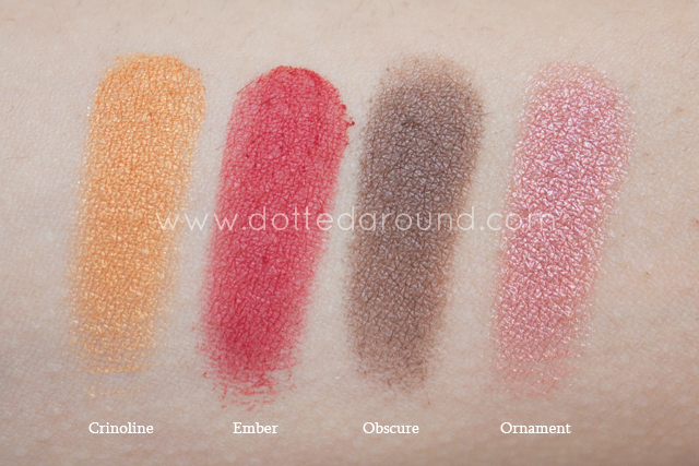 neve cosmetics swatch mistero barocco palette