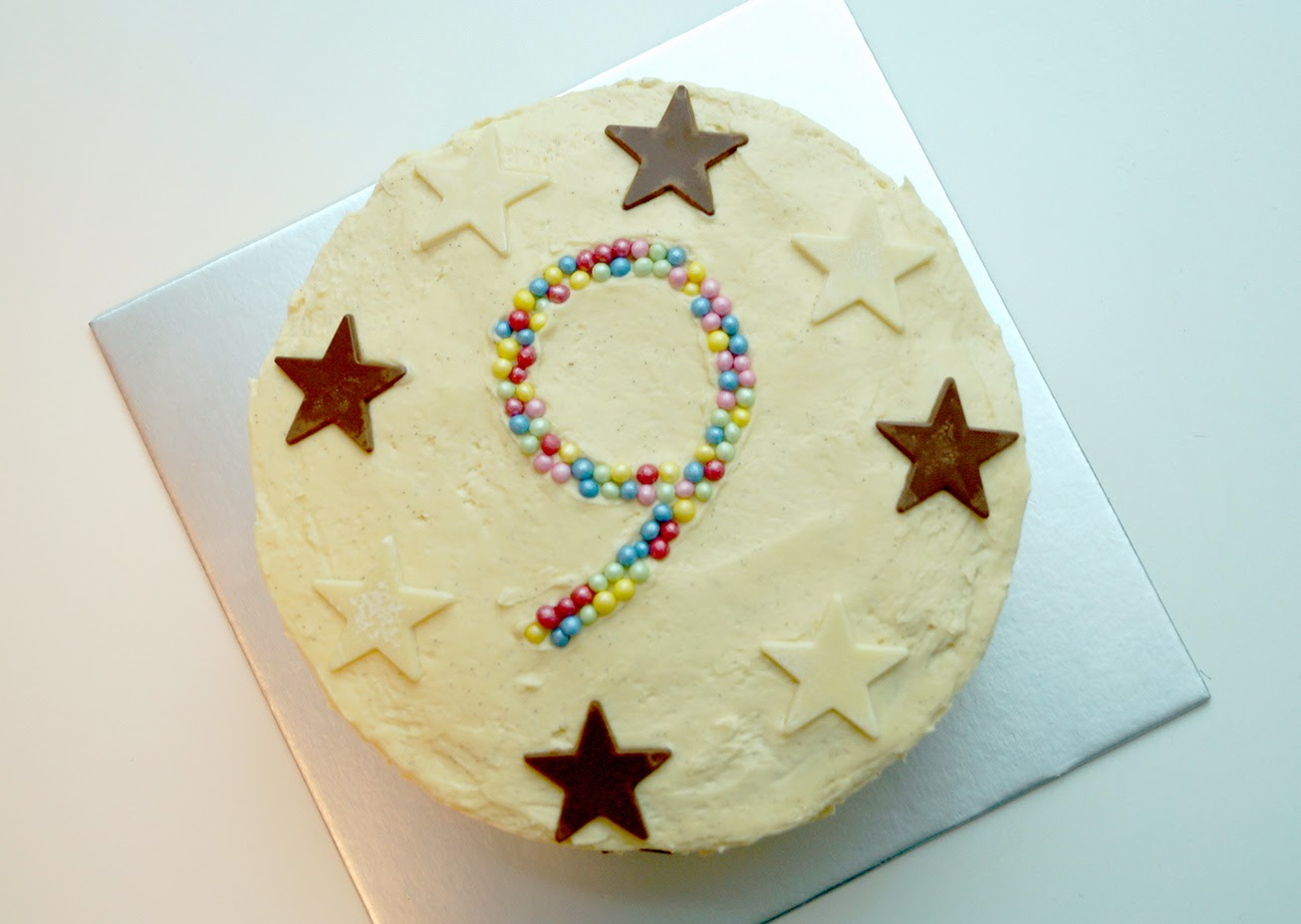 Birthday Cake With Burning Candle Number 9 Stock Photo Picture 9