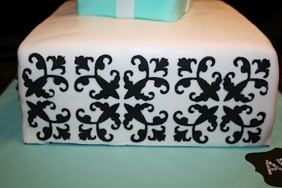 Uso de stencil com buttercream em bolo de pasta americana