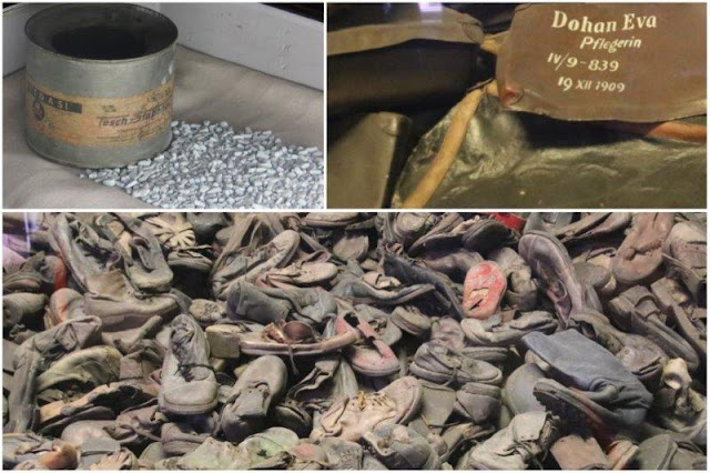 Lata de zyklon B y pequenos terrones delos que se obtiene el gas, maletas con nombres, zapatos en el campo de concentración de Auschwitz I