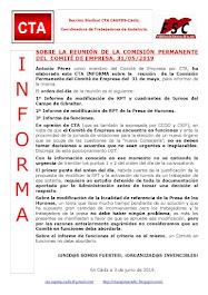 SOBRE LA REUNIÓN DE LA COMISIÓN PERMANENTE DEL  COMITÉ DE EMPRESA, 31/05/2019
