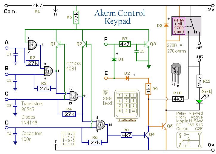 Wiring       Schematic       Diagram     4Digit Alarm Control    Keypad