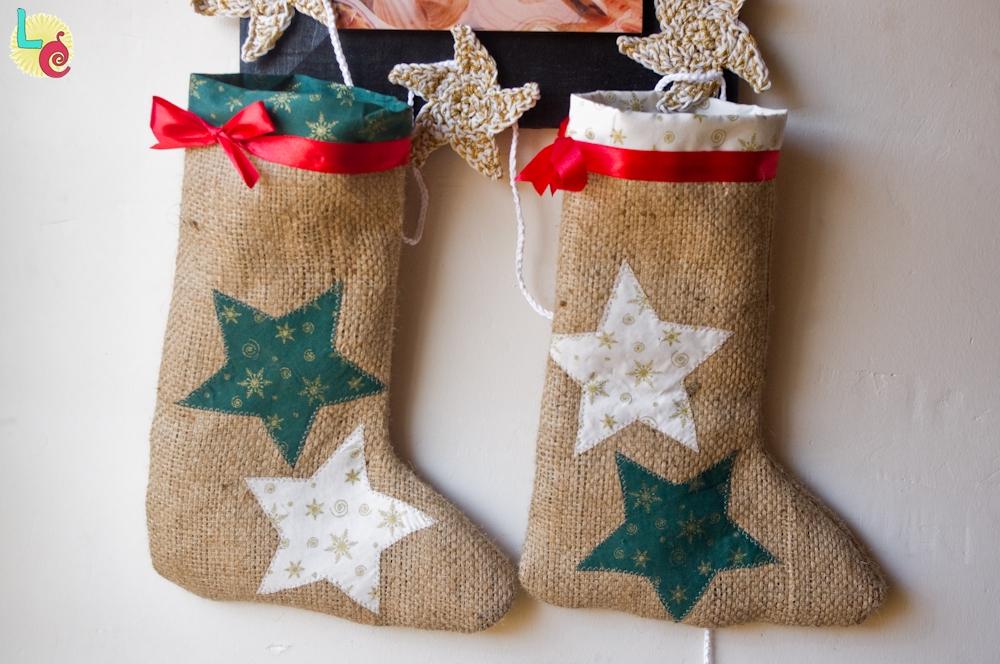 Lovers crafts calcet n de navidad con tela de saco - Calcetin de navidad ...