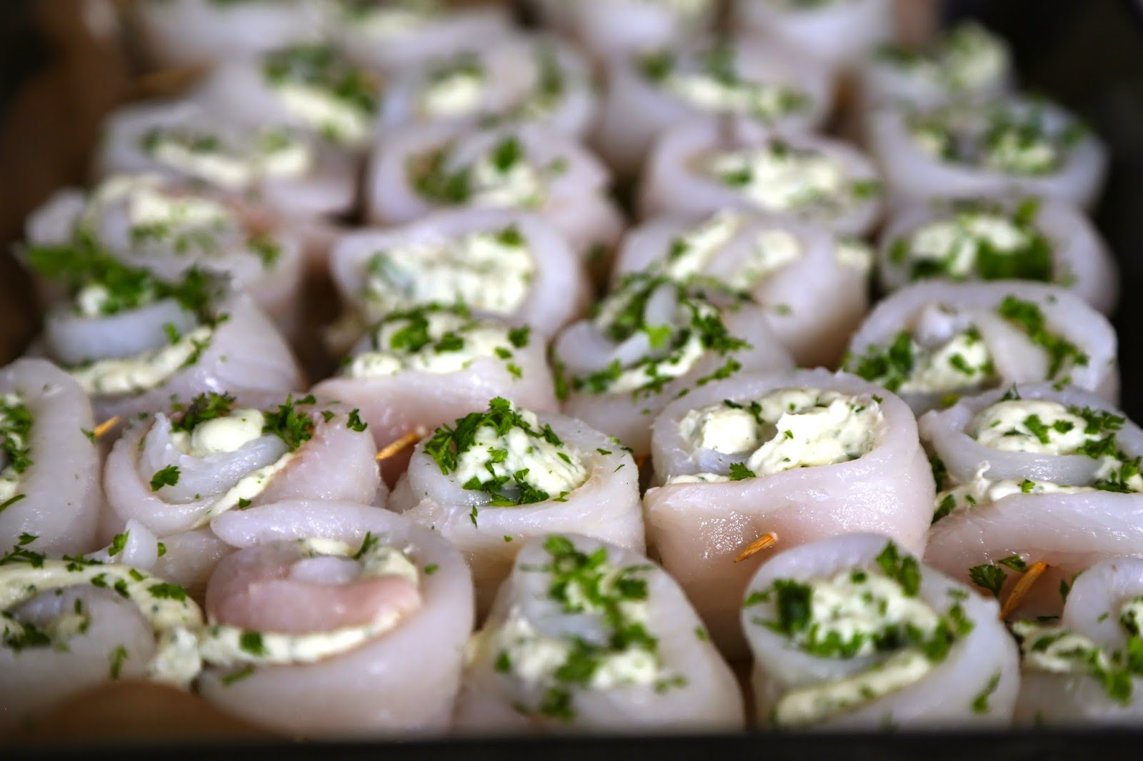 rolled lemon sole fillets stuffed with raki and chervil fish mousse