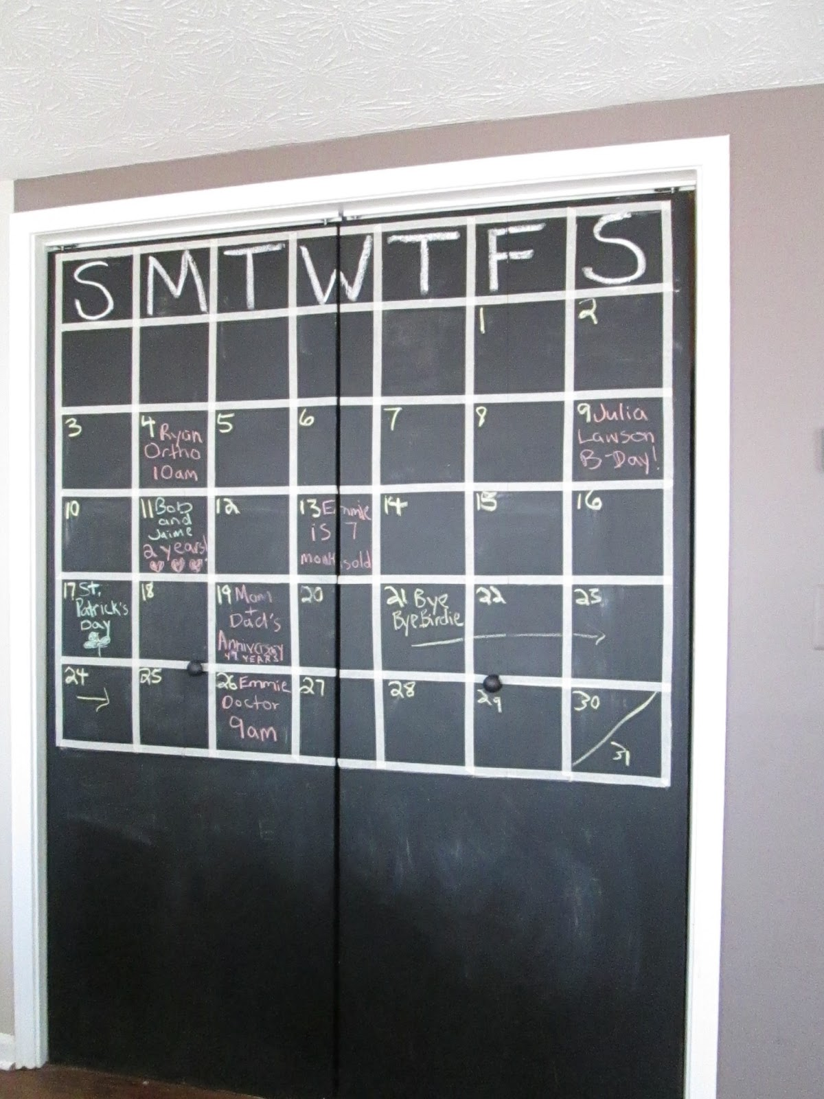 Thrift Aesthetic Giant Calendarchalkboardcloset Doors
