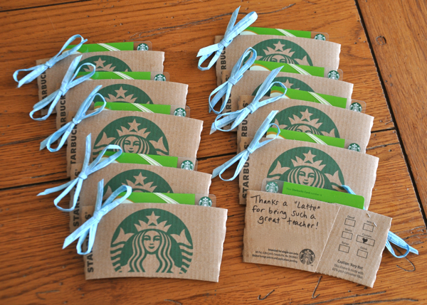 Thanks a Latte Teacher Appreciation gift cards