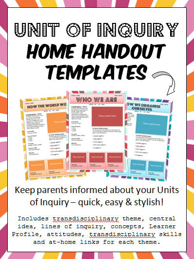 Classroom Handout Ideas ~ Snip snap scraps unit of inquiry home handout templates tpt