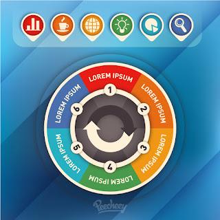 円グラフ型のインフォグラフィックス デザイン Infographic chart イラスト素材