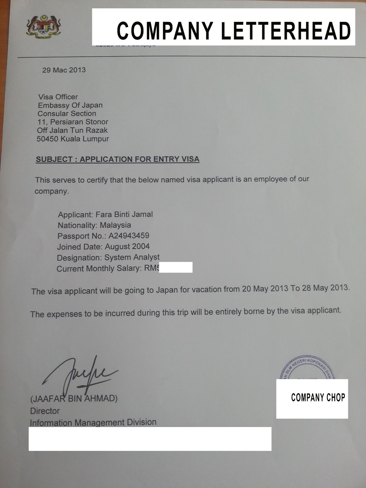 Sample Of Employment Letter For Japan Visa Application