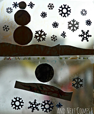 Sticky Winter Collages - an easy winter craft for toddlers from And Next Comes L