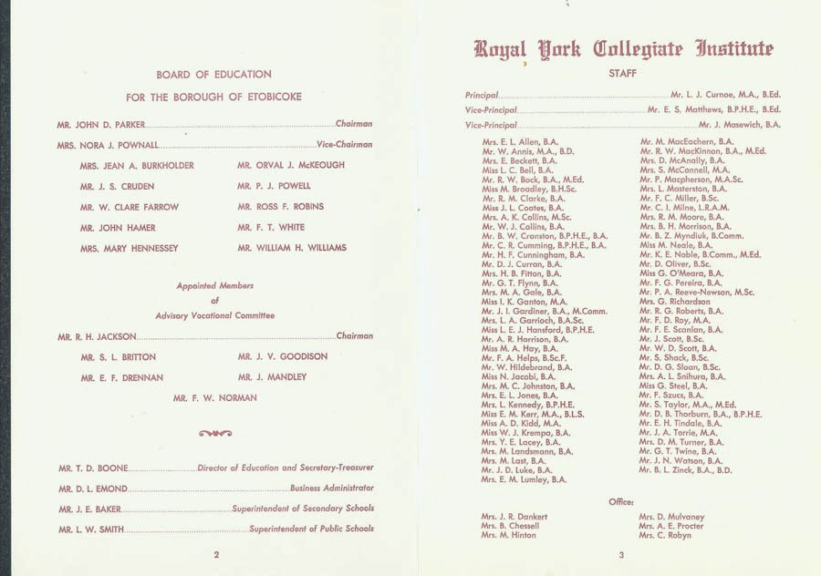 RYCI 1967 Commencement Program--inside