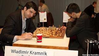 Echecs à Dortmund : Vladimir Kramnik (2785) 1-0 Anish Giri (2690) © Photo Georgios Souleidis