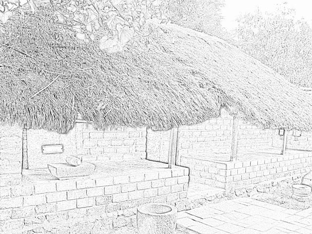 sketch of model thatched hut