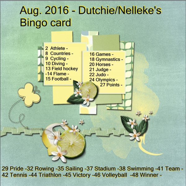 Aug.2016 Dutchie/Nelleke's Bingo card.