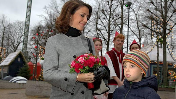 "HRH Princess Marie of Denmark and her son Prince Henrik (the Younger) visit the christmas musical show on ""Stjernedrys og Nissekys"" at the Glass Hall"