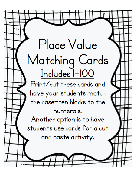 One Two Three Math Time Place Value Cards 1 100 Base