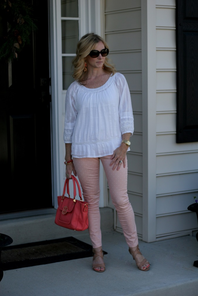 Loft, Gap, Tory Burch, Prada, Stella Dot, Michael Kors, Simply Lulu Design, Simply Lulu Style, Banana Republic, LosPhoto, peasant blouse, polka dot pants, spring outfit, Arm candy, mama said monday, lulu looks,