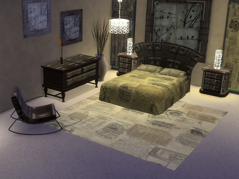 Tru 55 Sims 4 Brown leather bedroom set Recolor