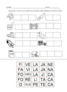 Atividade para a hipótese de escrita silábica com valor sonoro. Recorte e cole as sílabas - Alfabetização.