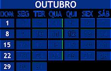 CALENDÁRIO OUTUBRO 2017