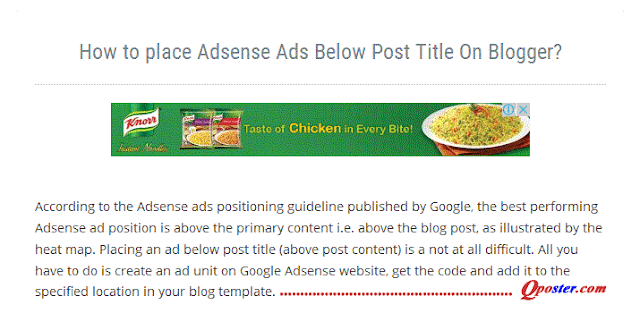 Ads Below Post Title On Blogger?