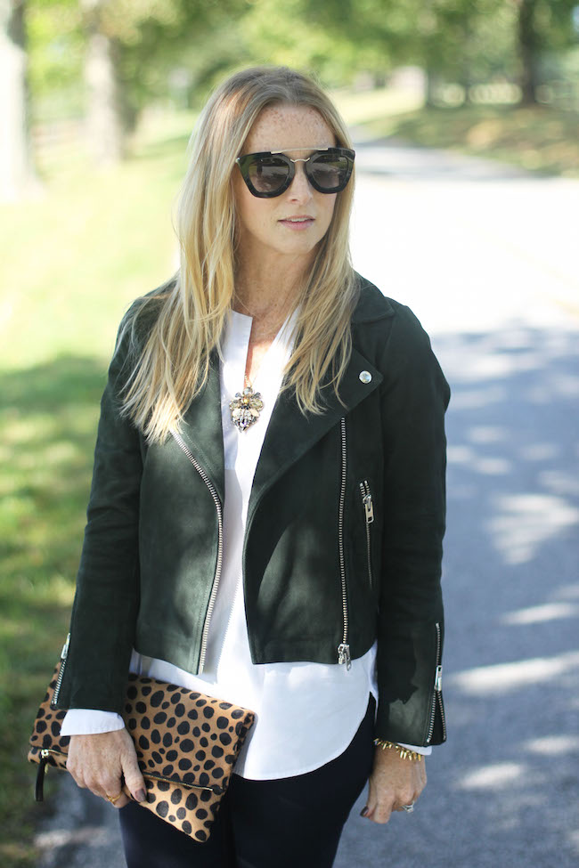 prada sunglasses, jcrew necklace, jcrew white tunic, topshop jacket, clare v leopard clutch