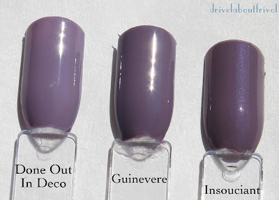 nail polish swatches OPI Done out in Deco, A-England Guinevere, Rescue Beauty Lounge Insouciant