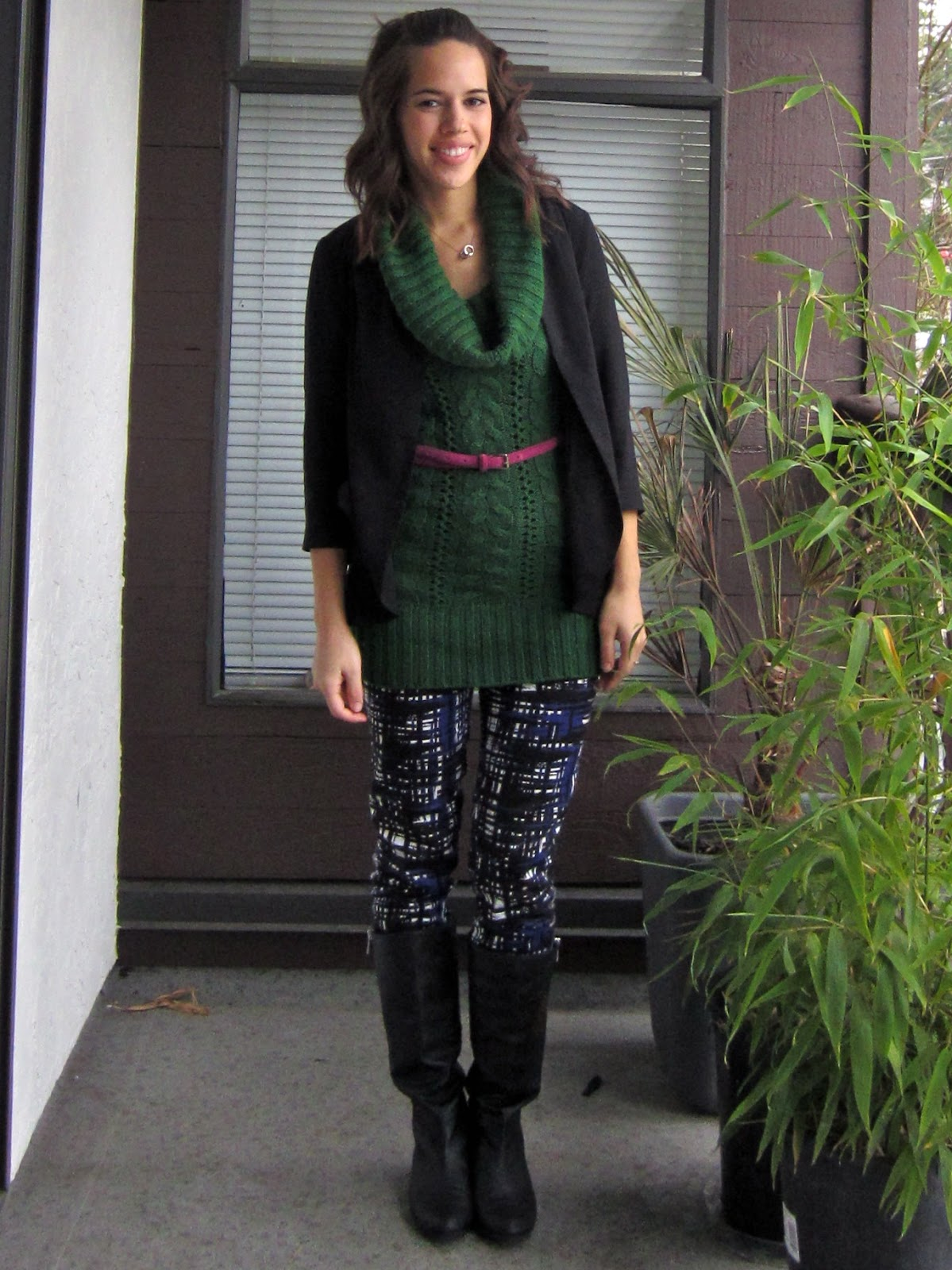 jules in flats: Green Cowl Neck Sweater & Patterned Pants
