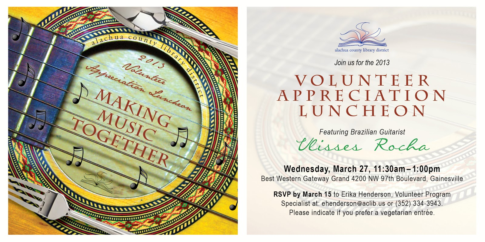 Library Volunteer Appreciation Luncheon Invitation Program Twice
