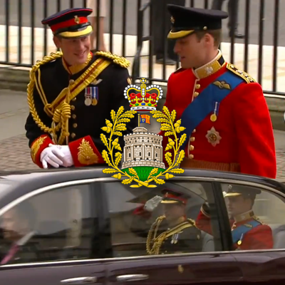 Coat of arms of the House of Windsor. Prince Harry and Prince William as they arrive at Westminster Abbey. At the bottom, they salute the guards from their royal car. YouTube 2011.