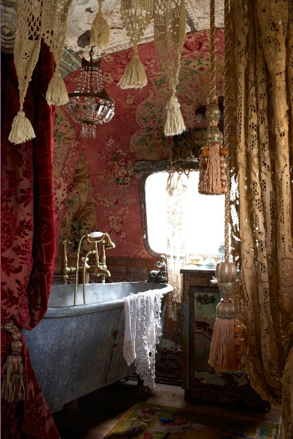 . Dishfunctional Designs  The Bohemian Bathroom