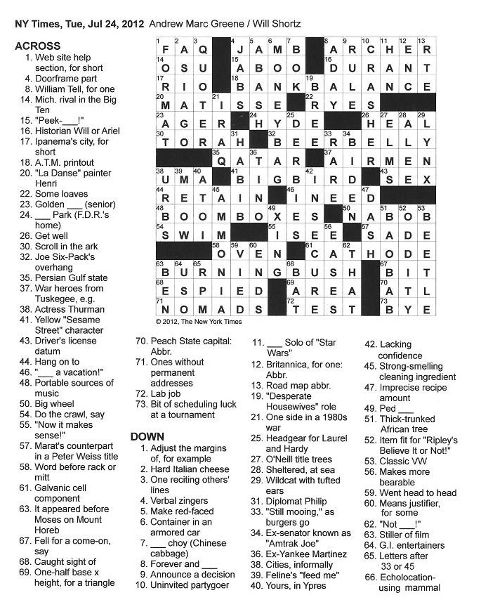 The new york times crossword in gothic july 2012 072412 b and b etc malvernweather Choice Image