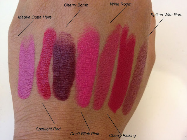 A picture of Wet and Wild Lip color swatches