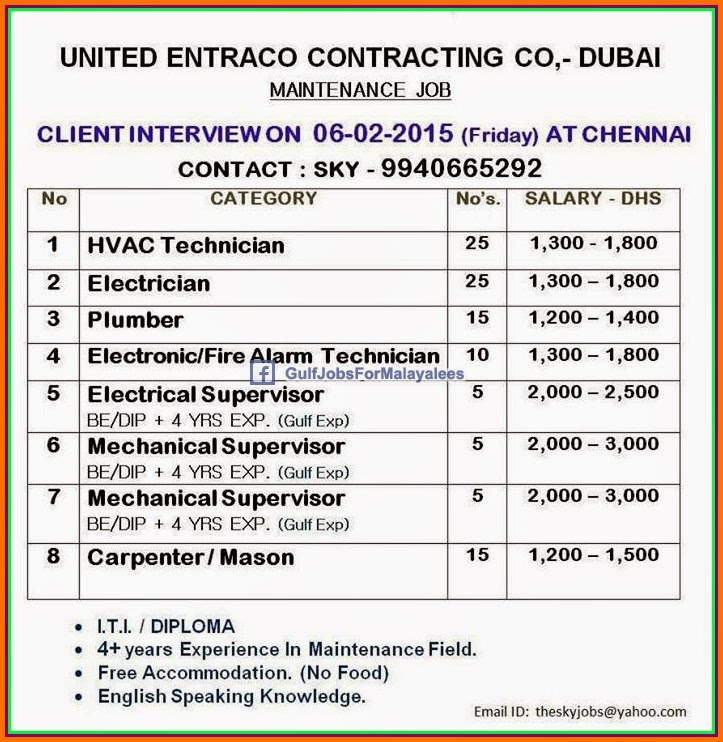 United Entraco Contracting Company Dubai Job Vacancies Gulf Jobs For Malaya