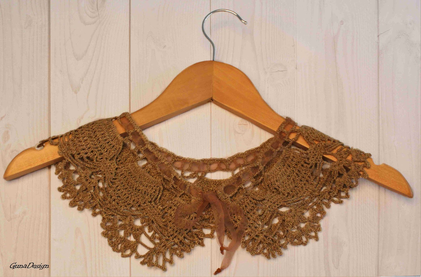 gunadesign guna andersone Light brown Peter Pan crochet lace collar