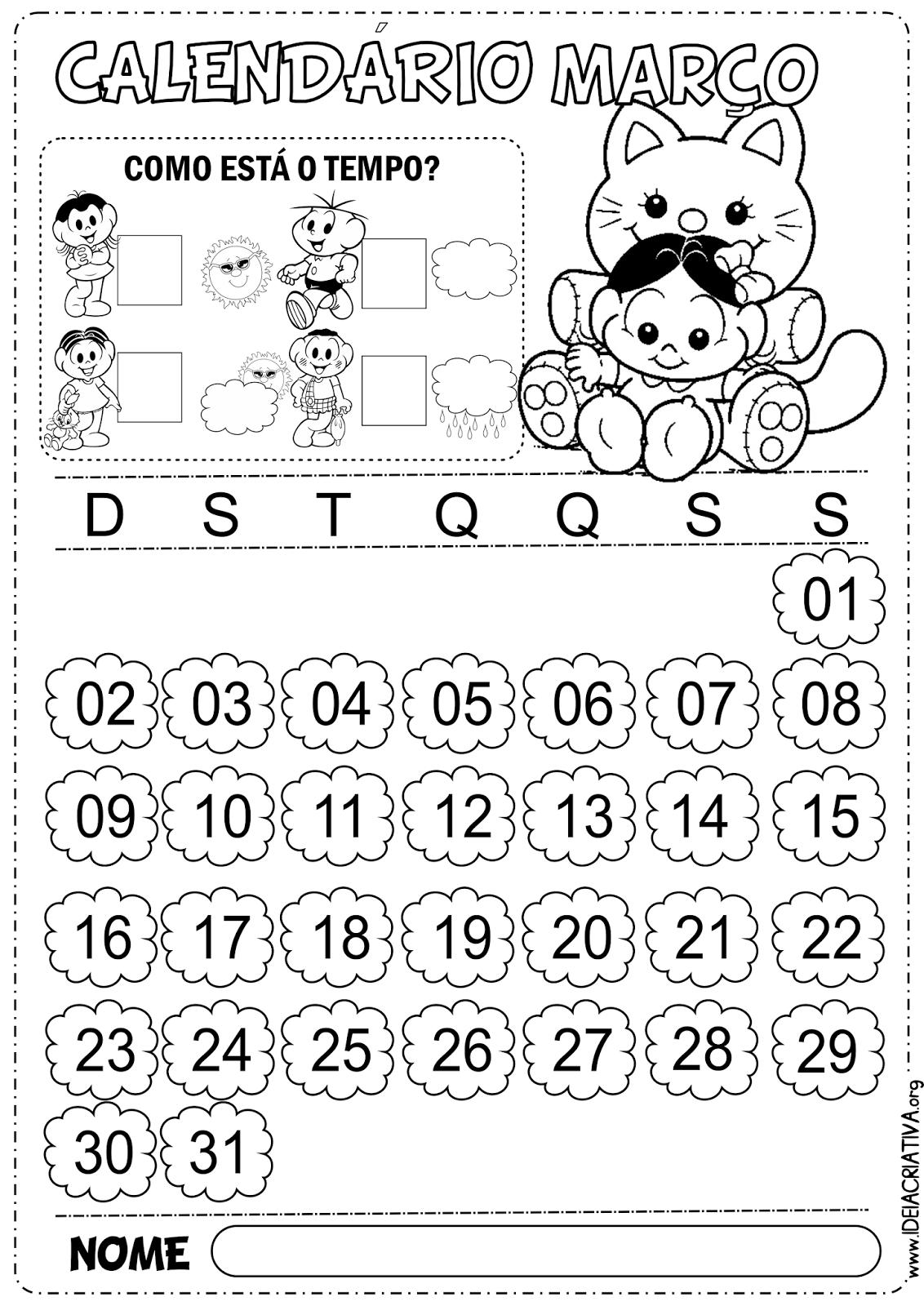 Calendário Março  Turma da Mônica