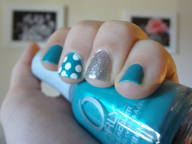 Turquoise, silver glitter, polka dots, nail polish