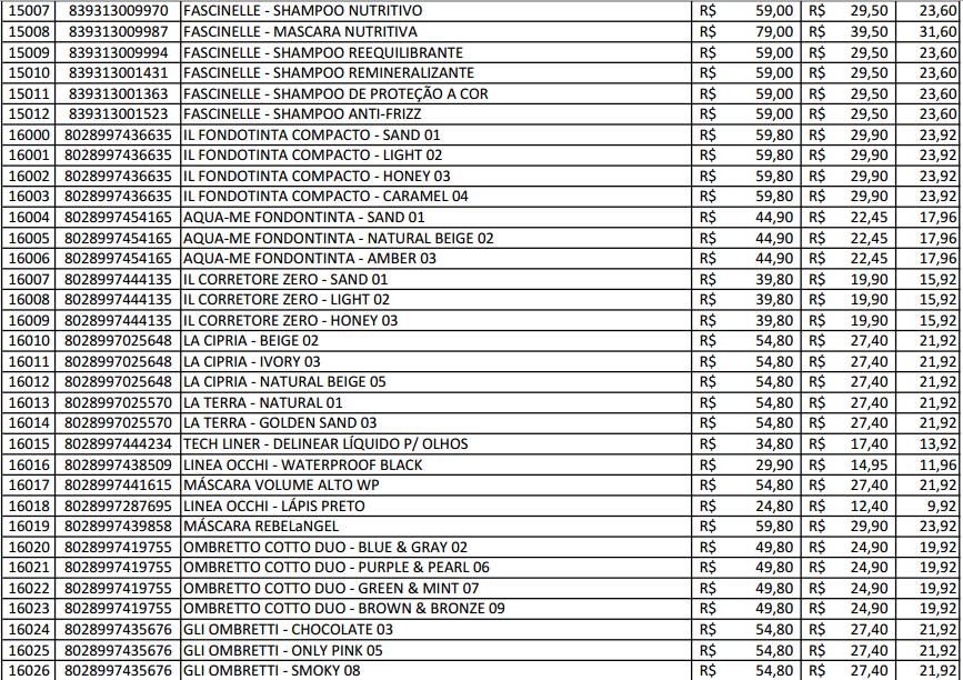 Amado Produtos Hinode Cosméticos: Tabela de preço hinode NH95
