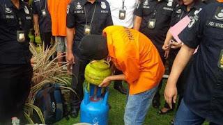 unit reserse dan kriminal polres tulung agung Jawa timur mengamankan satu orang tersangka pengoplos gas elpiji