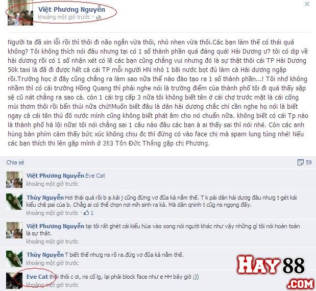 Huyền facebook chửi dân Hải Dương