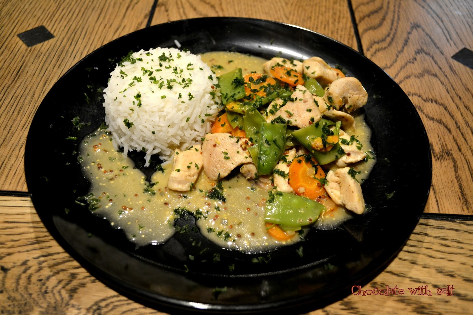 Chocolate with salt: Chicken stew with carrots and snow peas