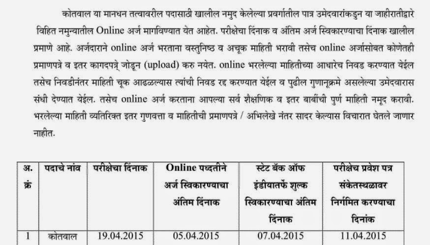 Kotwal Bharti 2015 Details in Marathi