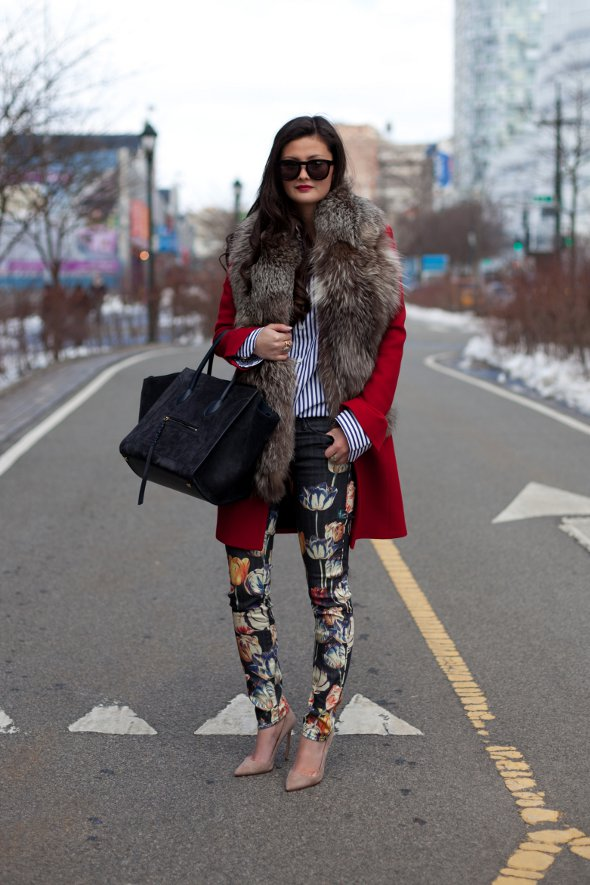 peony lim, new york street style, new york fashion week 2013 feb, fur collared red coat, nude pumps, floral pants.