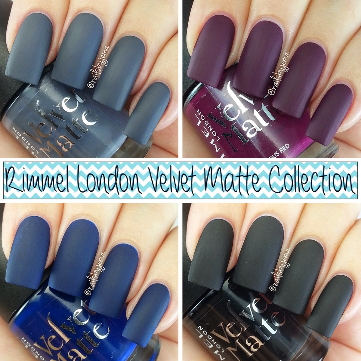 Nails By Jema: Rimmel London Velvet Matte Collection Swatches & Review!
