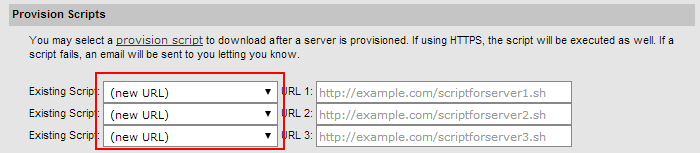 Select SoftLayer account provisioning script on batch order